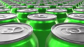 hábil : Looping 60 fps 3D animation of the green aluminum soda cans in UHD