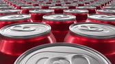 canned food : Looping 60 fps 3D animation of the red aluminum soda cans in UHD Stock Footage