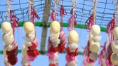 paskalya : Easter eggs hanging on the ribbons