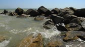 Sea splashing on the stone coast in Odessa region Stok Video