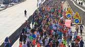 maraton : Kyiv, Ukraine - April 22, 2018: Nova poshta half marathon in Kyiv, Ukraine. The number of runners were more than six thousand people. Wideo