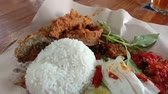 obiad : Indonesian fried catfish with white rice and chili sauce, indonesian food