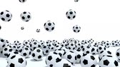 esportivo : many soccer balls on white background, 3d animation Stock Footage