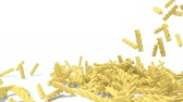 makarony : many fusilli pasta fall on white background, 3d animation