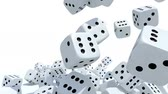 background : many dices fall on white background, 3d animation Stock Footage