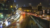 Cairo, Egypt - November 12, 2016: Night time lapse of rush hour traffic on the Corniche El Nile Street in Cairo city center.