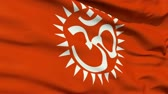 syllable : Red flag with Hindu Aum or Om in Devanagari script , the first incantation or sound, and a symbol of Hinduism.
