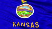 kansas : Kansas Flag Close Up Realistic Animation Seamless Loop - 10 Seconds Long