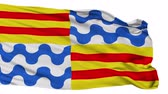 euro : Badalona flag, city of Spain, realistic animation isolated on white seamless loop - 10 seconds long (alpha channel is included)