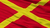 euro : Virton closeup flag, city of Belgium, realistic animation seamless loop - 10 seconds long Stock Footage