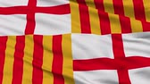 euro : Barcelona closeup flag, city of Spain, realistic animation seamless loop - 10 seconds long