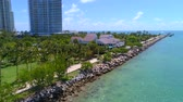 Aerial drone shot of South Pointe Park Miami Beach 4k 60p