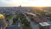 Aerial video Des Moines IA USA and state capitol building 4k