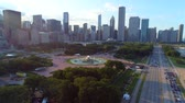 Aerial video Buckingham Fountain Chicago 4k Stock Footage