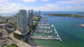 Lateral aerial video Miami Beach Marina 4k