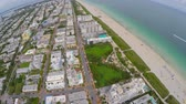 Aerial fisheye wide angle Miami Beach travel destination Стоковые видеозаписи