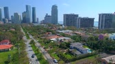 Drone shot residential neighborhood Brickell Avenue Miami 4k