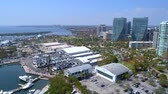 establishing shot : Aerial tour Coconut Grove Marina Dinner Key