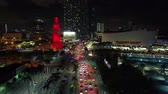 ışıklar : Aerial shot traffic Miami approaching the American Airlines Arena Stok Video