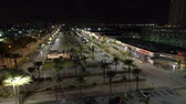 Aerial video RK Shopping Center Hallandale night shot