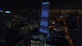 Aerial video Totalbank blue lit buidling Miami