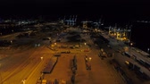 Night aerial establishing shot Port Miami FL USA