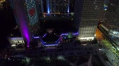 Night aerial tilt up Intercontinental Hotel Miami 4k