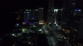 Night aerial tour Downtown Miami 4k