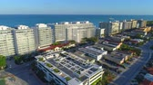 Aerial video Surfclub and Four Seasons buildings completed Surfside FL Стоковые видеозаписи