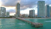 Establishing aerial video Sunny Isles Beach fishing pier 4k