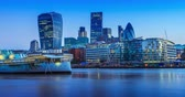 river : Financial district in London,Englandnight to day Stock Footage