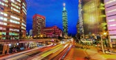skyline : Transition smoothly of Taipei City from day to night, no flicking Stock Footage