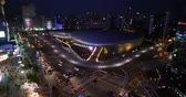 real jam : 4K Aerial shot of the Dongdaemun Design Plaza at night in seoul,South Korea. (DDP) Stock Footage