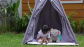 simplicidade : Playing in a tent Stock Footage