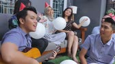 decorativo : friends enjoying brithday party and singing together
