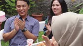 frankfurters : birthday party surprise with friends Stock Footage