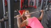 elbow : Barbell incline bench press woman Stock Footage