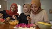 fast food : women hijab prepare fresh drink cocktail