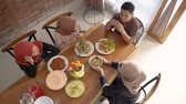 raya : top view of people muslim having their food Stock Footage