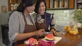 melancia : woman make sweet drink from fruits Stock Footage