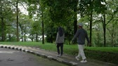 life is good : two senior couple walking together in the park Stock Footage