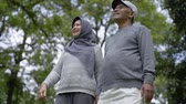 life is good : muslim senior couple relaxing in the park