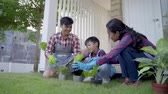 veranda : asian people happy gardening with family at home