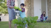 trávník : father and son watering a plant in front of their house together