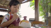cruche : asian child painting ceramic pot