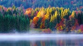 garmisch : Geroldsee view during autumn with foggy sunrise in Bavarian Alps, Bavaria, Germany.