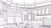 opportunities : Custom Kitchen Drawing Panning to Reveal Finished Design Stock Footage