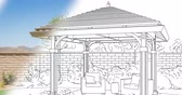 propriedade : 4k Custom Pergola Drawing Transitioning to Photograph.