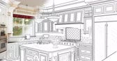 4k Custom Kitchen Drawing Transitioning to Photograph. Wideo