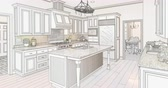 kroki : 4k Custom Kitchen Drawing Transitioning to Photograph. Stok Video